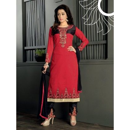 Red With Gold Embroidered Designer Wear Dress Material With Black Dupatta - Balloono