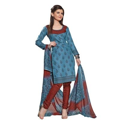 Printed Dress Material With Matching Dupatta - Blue - Varanga