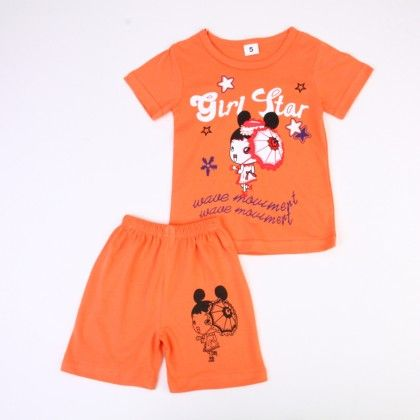 Girl Star Print Top And Shorts Set - Orange - Ton