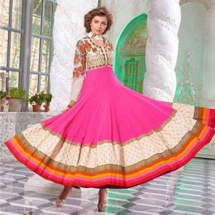 Pink Embroidered Western Anar Kali Dress Material - Balloono