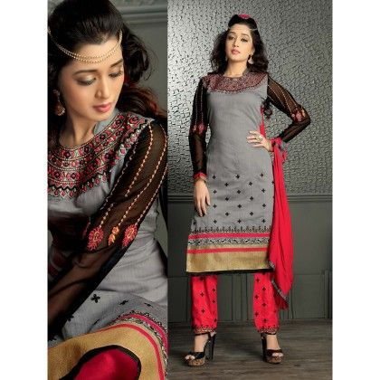 Embroidered Designer Wear Dress Material With Red Dupatta - Balloono