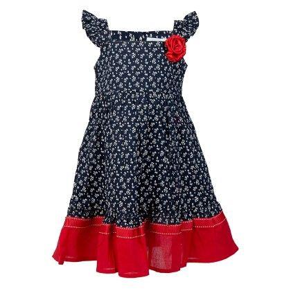 Ditsy Print Strappy Ruffle Dress-navy - Soul Fairy