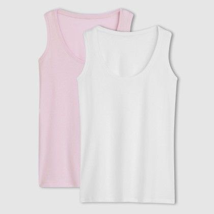 White And Rose Pack Of 2 Tank Tops - La Redoute