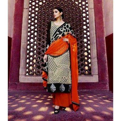 Black & Orange Georgette Dress Material - Afreen