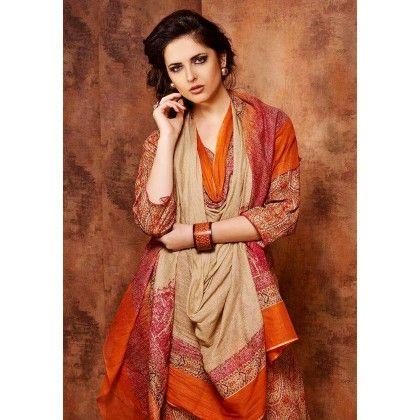 Beige & Orange Printed Cotton Dress Material - Afreen