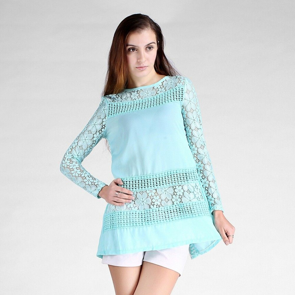 Floral Lace Mint Top - Dell's World