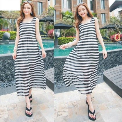 Stripes Summer Long Dress - Dell's World