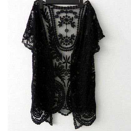 Black Front Open Short Sleeve Lace Shrug - Dell's World