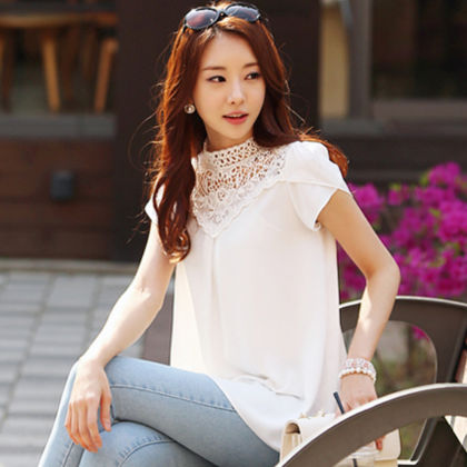 Hi-neck Lace Top - Dell's World