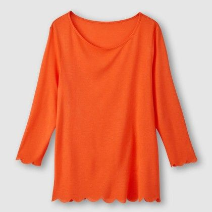 Rouge Orange Cut Out Hem Top - La Redoute