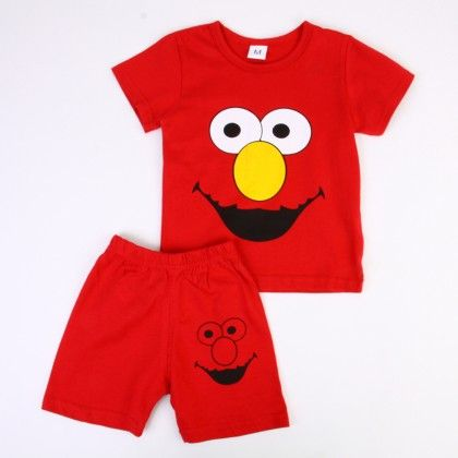 Happy Cartoon Print Top And Shorts Set - Red - Ton