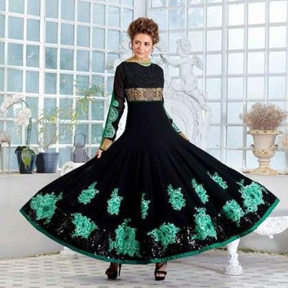 Semi-stitched Black Western Anarkali Dress Material - Balloono
