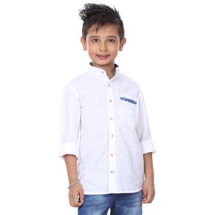 Full Sleeve Mandarin Collar Shirt For Boys - BonOrganik
