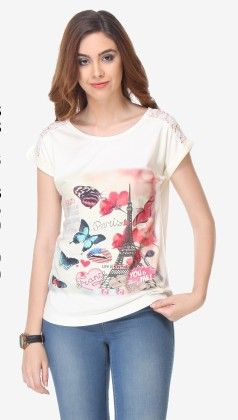 Varanga Printed Off White-multi Color Knitted Top - 311960