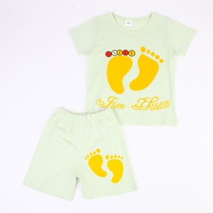 Cute Foot Print Top And Shorts Set - Yellow - Ton