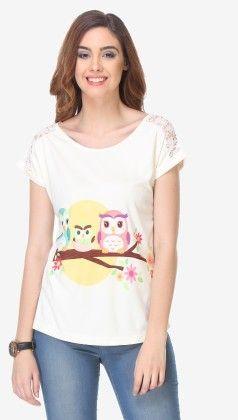 Varanga Printed Off White Knitted Top - 311963