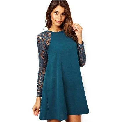 Blue Lace Sleeves Dress - STUPA FASHION