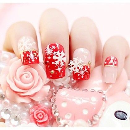 3d Nail - Snowflake Red Stricker - Oomph