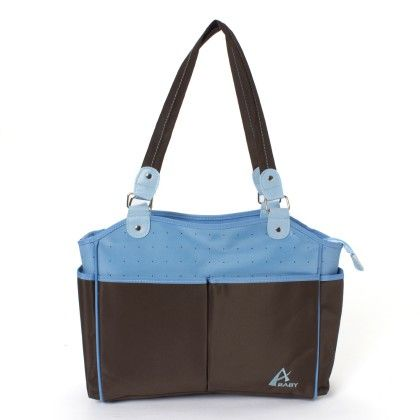 Advance Baby Multi Function Mama Tote Diaper Bag-blue-brown - A Baby