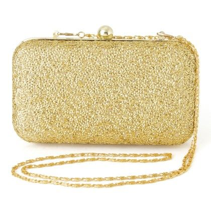 Latest And Trendy Sequin Clutch - Golden - Mauve Collection