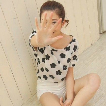 Flower Print Chiffon Top - Dell's World