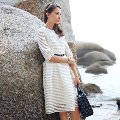 White Slim Fit Short Dress - STUPA FASHION
