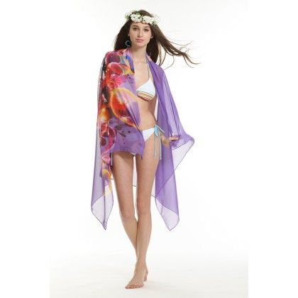 Coverup Beach Dress Sarong - Long Scarf Purple - Ruby Swimwear