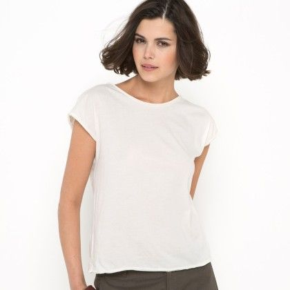 White Basic T-shirt With Lace At Back - La Redoute