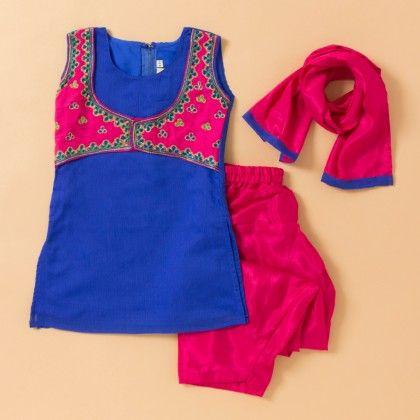 Hand Emboidered Kurta & Salwar Set- Blue - BownBee