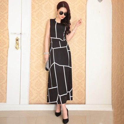 Designer Partywear Big Checks Long Dress - Dell's World