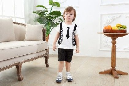 Cute Jacket Style T-shirt With Tie Print And Shorts - Set Of 2 - White - Dapper Dudes