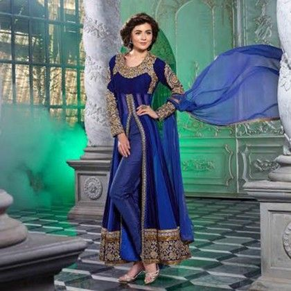 Blue Gold Embroidered Western Ethenic Dress Material - Balloono