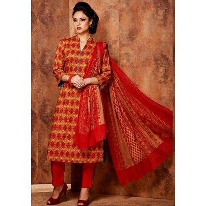 Reddish Orange Printed Cotton Dress Material - Afreen