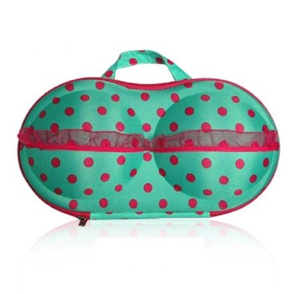 Travel Bra Bag- Organizer - Red With White Points - Organization Collection