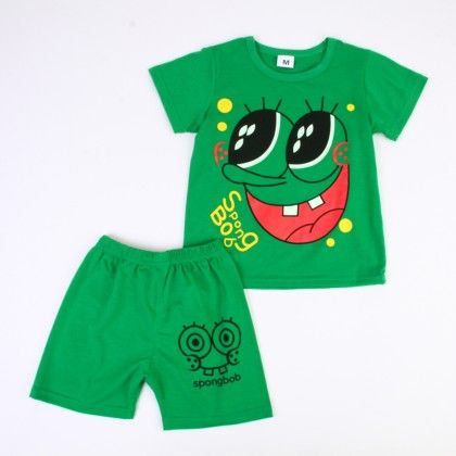Funky Cartoon Print Top And Shorts Set - Green - Ton