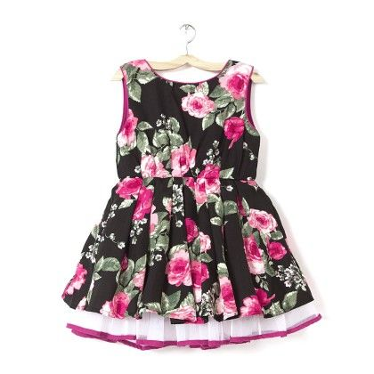 Girl's Black & Pink Floral Printed Party Dress - Budding Bees