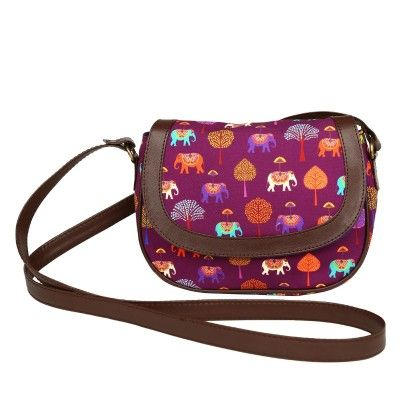 Leather Sling Bag Plum Elephants Carnival - The Elephant Company