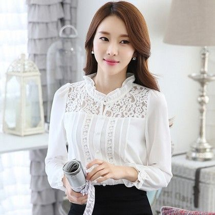 Frill Neck Lace Top - Dell's World