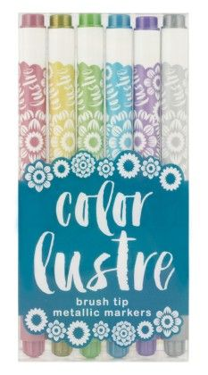 Color Lustre Brush Tip Metallic Markers Set - International Arrivals
