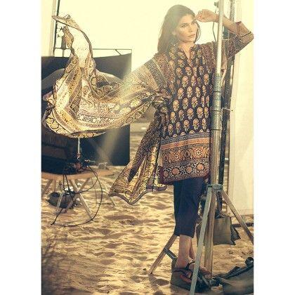 Sana Safinaz Embellished Semistitched Suit - Mauve Collection