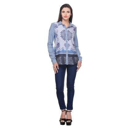Light Indigo Blue Polyster Printed Shirt - Varanga