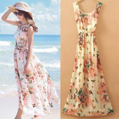 Butterfly Print Summer Long Dress - Dell's World