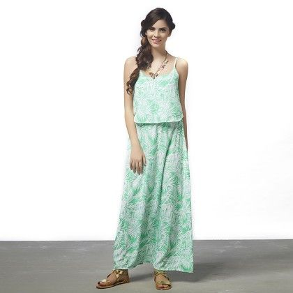 Palm Print Overlap Maxi Dress - The Label Life