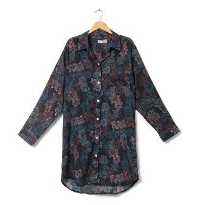 Black Printed Sleep Shirt - Sheer Love