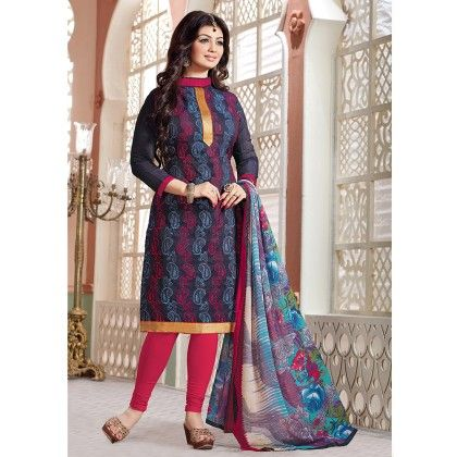 Navy Blue Chanderi Embroidery Semistitched Suit - Fabfella