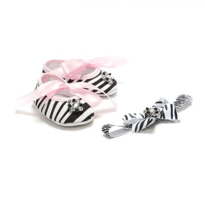 Zebra Print Bow Headband Combo With Crystals - Pikaboo