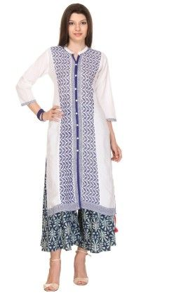Printed Off-white & Blue Stitched Kurti - Varanga