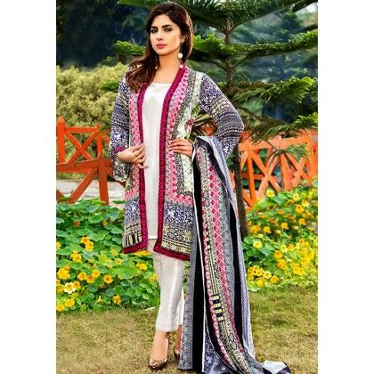 Beautiful Pakistani Style Printed Cotton Dress Material - White & Grey - Afreen