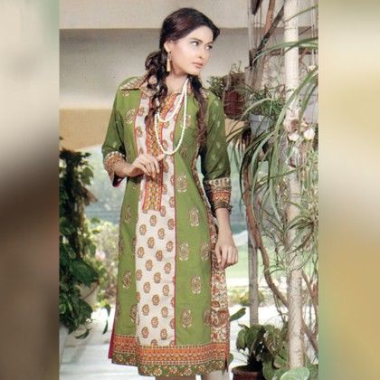 Beige And Green Unstitched Kurti - Mauve Collection