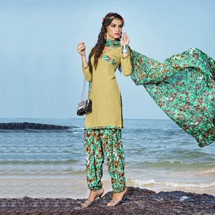 Khaki Green With Multicolor Salwar And Dupatta Dress Material - Balloono